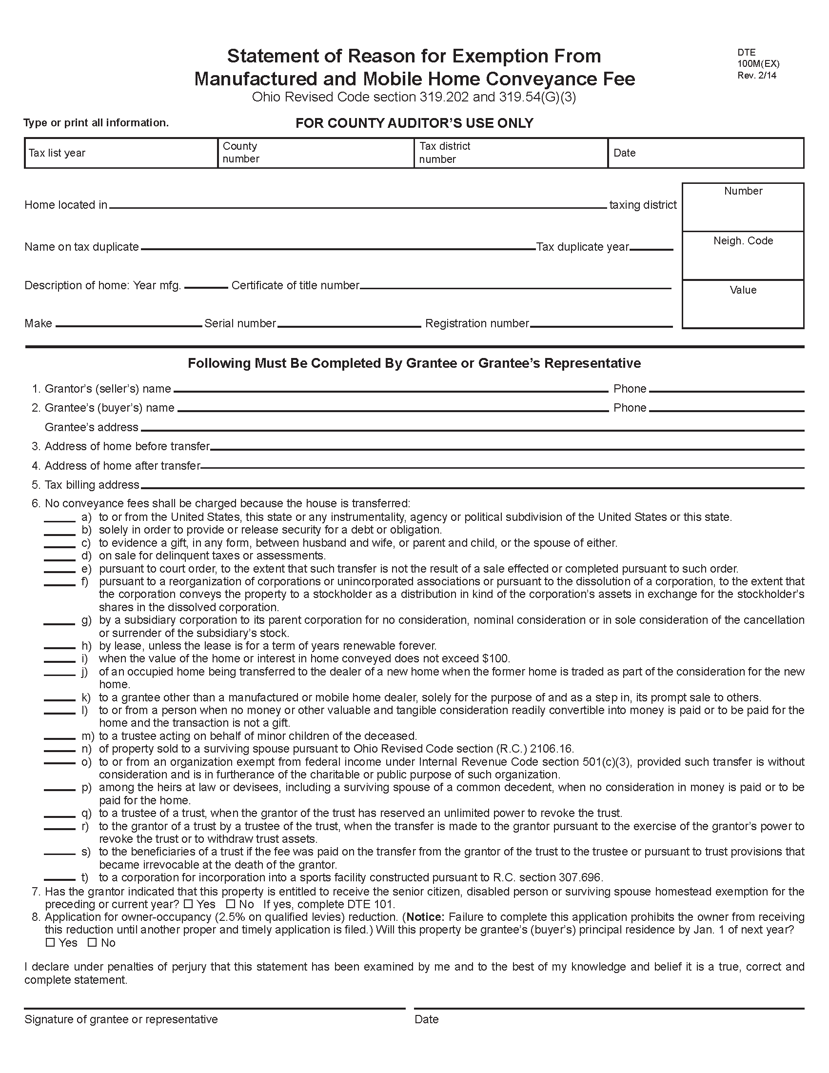 Manufactured or Mobile Home Conveyance Form DTE 100M(EX)