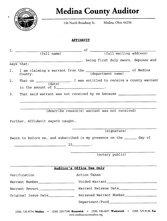 Medina County Auditor | Forms